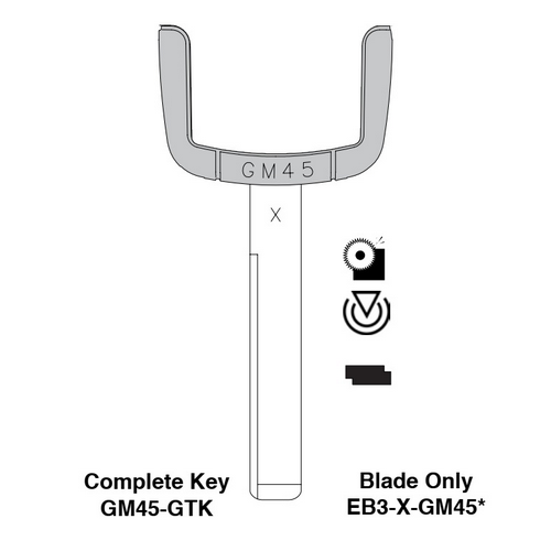 Ilco EB3-X-GM45 GM Electronic Key Blade Only