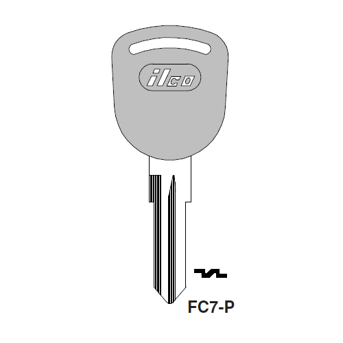 Ilco  FC7-P Aston Martin, D.A.F., Ford, Ford International, Jaguar, Pantera, Rover Plastic Head Key Blank; ( FC7,  X86 )