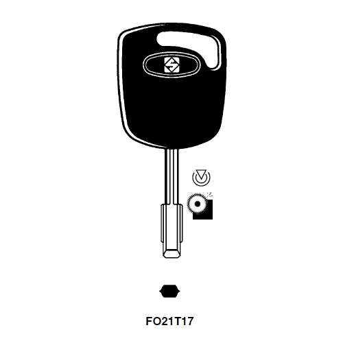 Ilco FO21T17-SI Transponder Key Blank; Ford