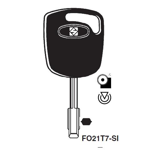 Ilco FO21T7-SI Transponder Key Blank; Jaguar