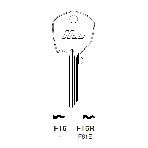 Ilco FT6R Key Blank : Strattec (B&S), Fiat, Ford International, Nissan, Peugeot