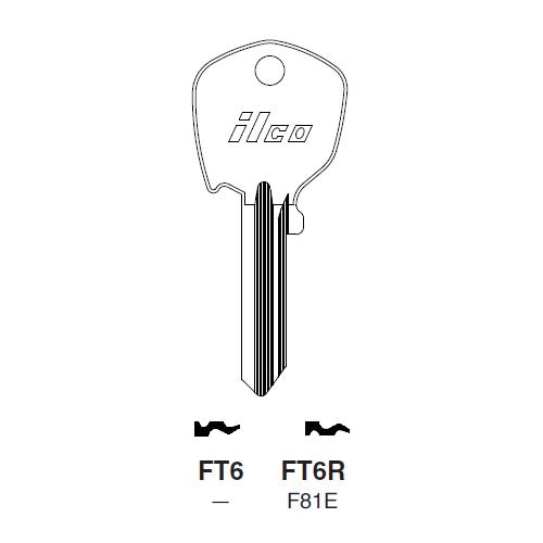 Ilco FT6R (F81E) Key Blank : Aprilia, British Leyland, Fiat, Jaguar, Nissan
