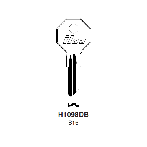 Ilco H1098DB (B16) Key Blank : Strattec (B&S), General Motors