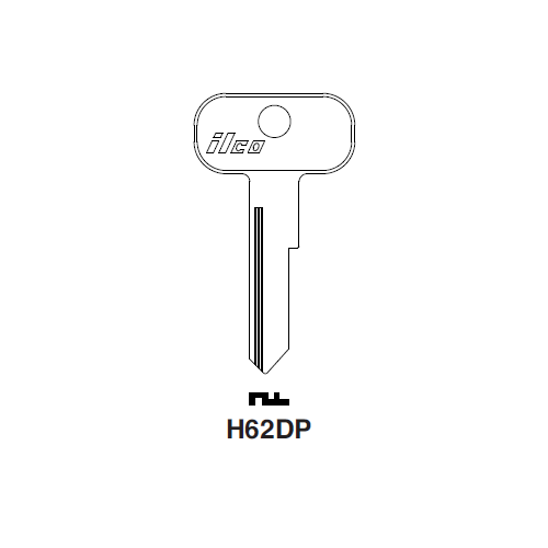 Ilco H62DP Key Blank : Aston Martin, British Leyland, Riley, Van Guard, Vauxhall, Worsley