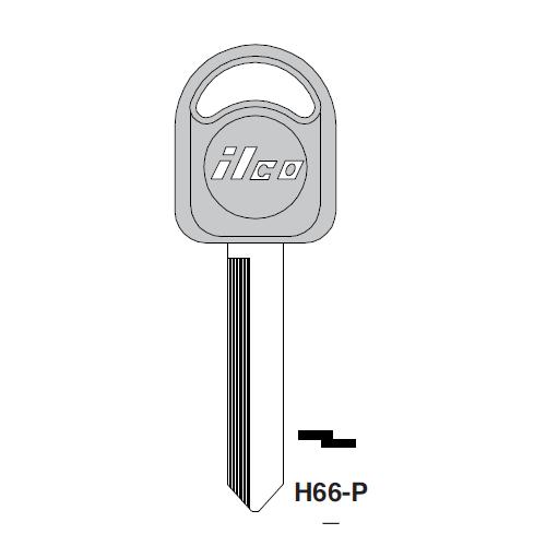 Ilco  H66-P Ford, Mercury, Mariner Ouyboards Plastic Head Key Blank; ( H66,  1193MU )