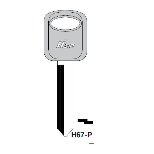Ilco  H67-P Ford Plastic Head Key Blank; ( H67,  1193FD )