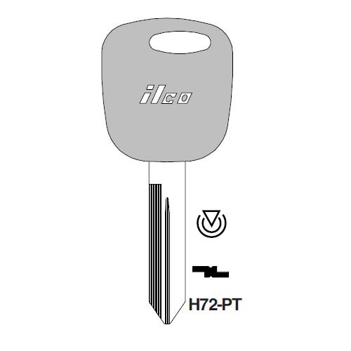 Ilco H72-PT-300 Transponder Key Blank; Ford