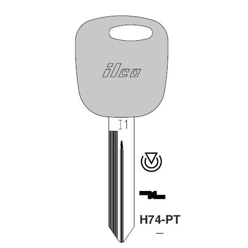 JMA H74PT/H86PT Transponder Key Blank; Ford