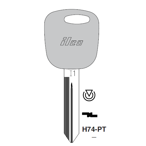 Ilco H74-PT Transponder Key Blank; Ford