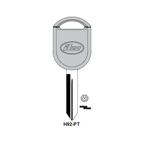 Ilco H92-PT-250 Transponder Key Blank; Ford
