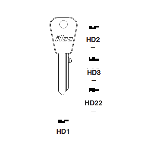 Ilco HD22 Key Blank : Honda Motorcycles