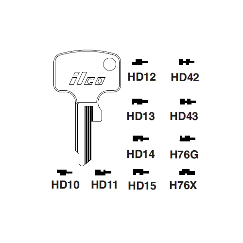 Ilco HD42 Key Blank : Honda Motorcycles
