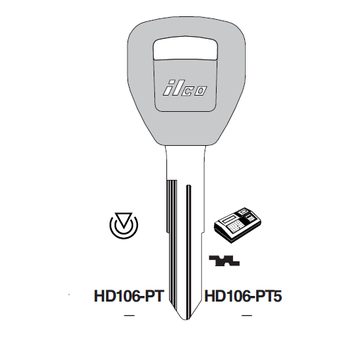 Ilco HD106-GTS Chipless Key Blank; HONDA, ACURA
