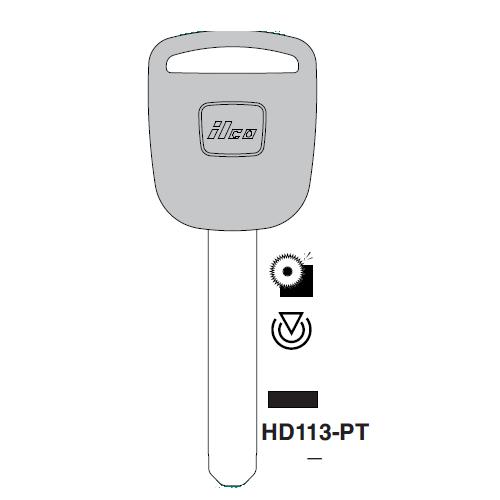Ilco HD113-PT Transponder Key Blank; Honda Motorcycles