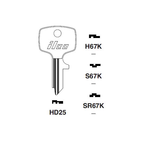 Ilco HD25 Key Blank : Honda Motorcycles