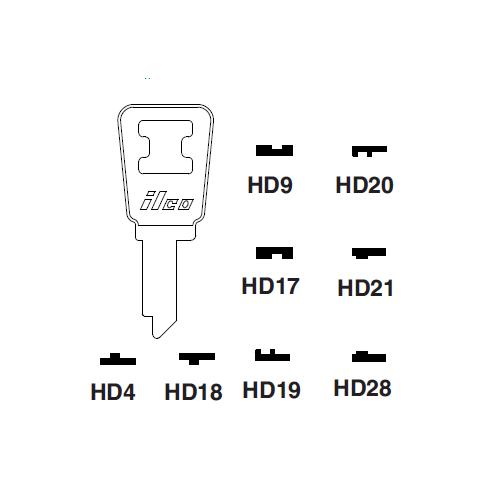Ilco HD4 Key Blank : Honda Motorcycles
