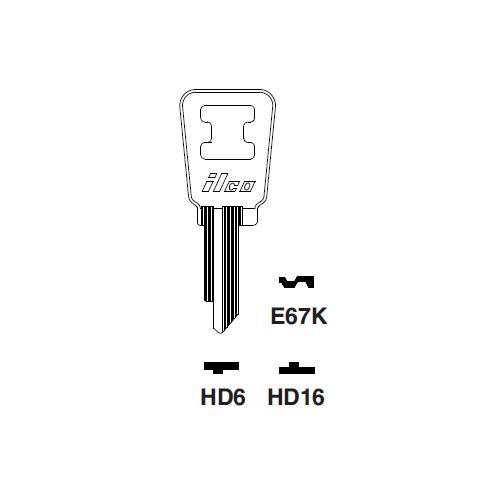 Ilco E67K Key Blank : Honda Automobiles