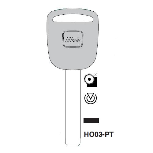 Ilco HO03-PT Transponder Key Blank; Honda Automobiles