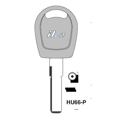 Ilco  HU66-P Vw Plastic Head Key Blank