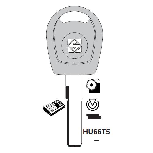Ilco HU66T5 Transponder Clonable Key Blank; Porsche