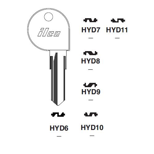 Ilco HYD11 Key Blank : Harley Davidson