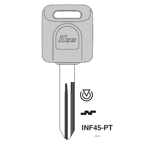 Ilco INF45-PT Transponder Key Blank; Infiniti, Nissan