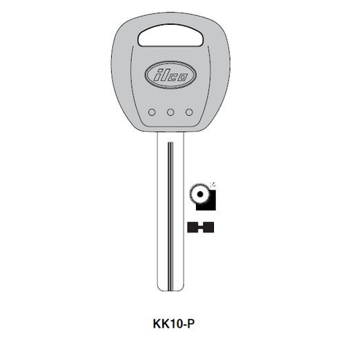 Ilco  KK10-P Kia, Hyundai Plastic Head Key Blank
