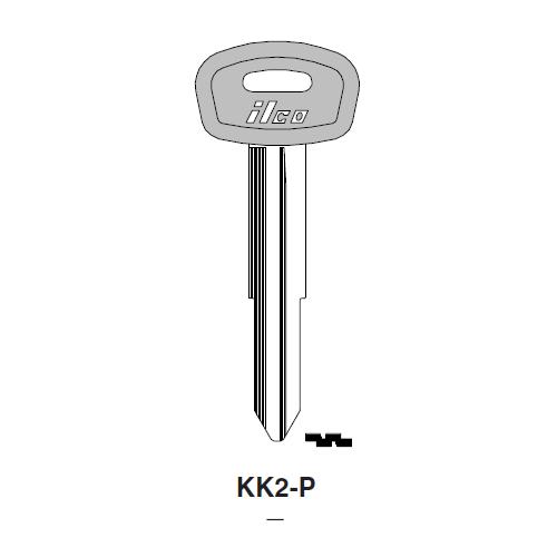 Ilco  KK2-P Kia Plastic Head Key Blank; ( KK2,  X240 )
