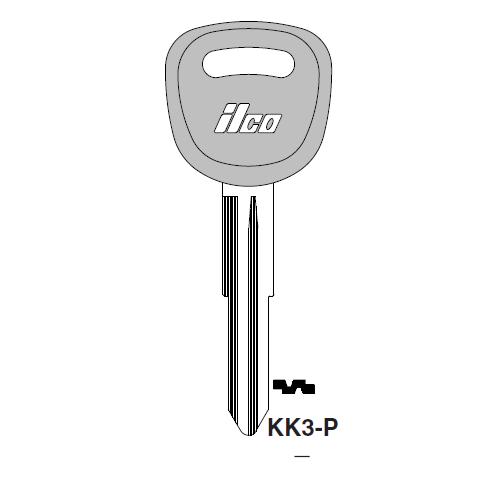 Ilco  KK3-P Kia Plastic Head Key Blank; ( KK3,  X253 )