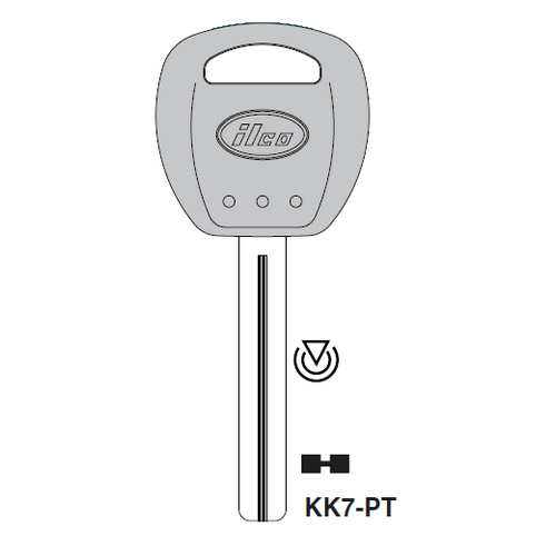 Ilco KK7-PT Transponder Key Blank; Kia