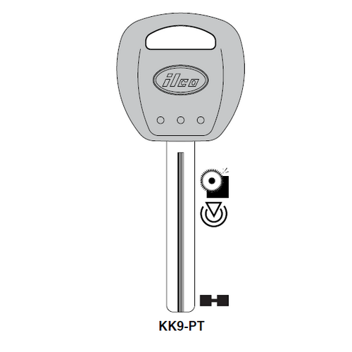 Ilco KK9-PT Transponder Key Blank; Kia