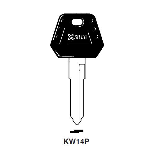 Ilco  KW14P-SI-STEEL  Plastic Head Key Blank;