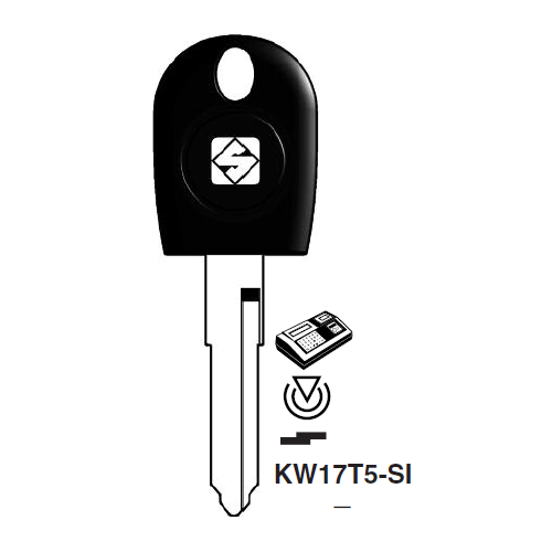 Ilco KW17T5-SI Transponder Cloneable Key Blank; Ducati