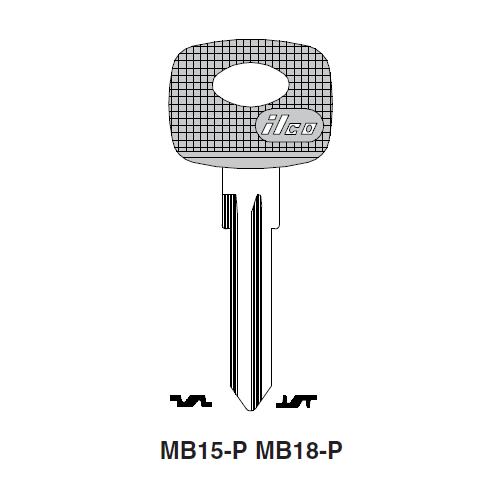 Ilco  MB18-P Mercedes Benz Plastic Head Key Blank; ( MB18 )