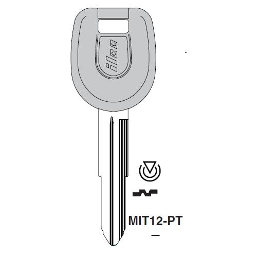 Ilco MIT12-PT Transponder Key Blank; Mitsubishi