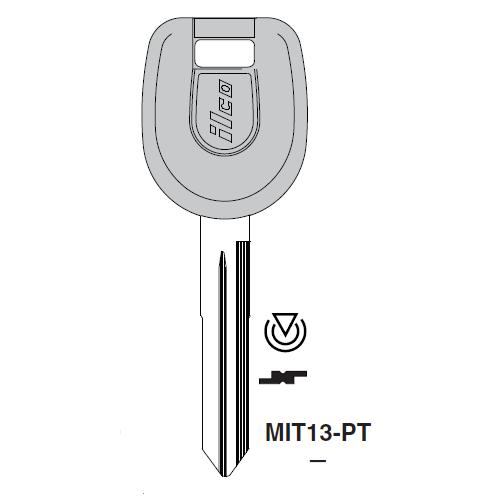 Ilco MIT13-PT Transponder Key Blank; Mitsubishi