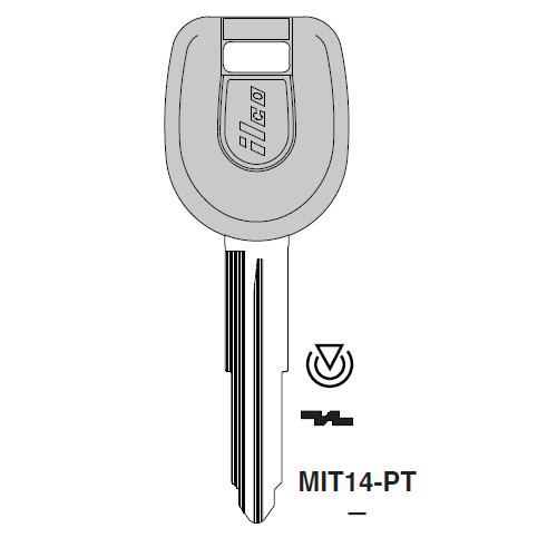 Ilco MIT14-PT Transponder Key Blank; Mitsubishi