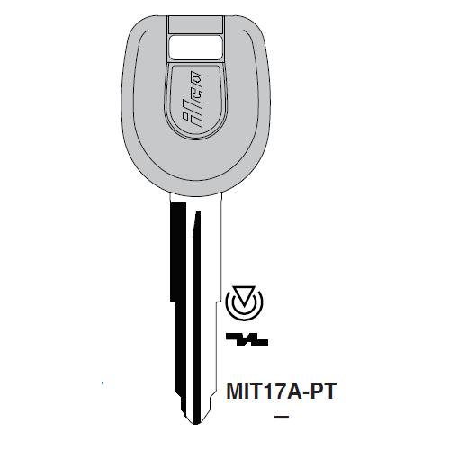 Ilco MIT17A-PT Transponder Key Blank; Mitsubishi