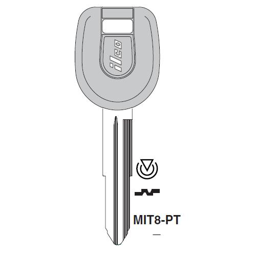 Ilco MIT8-PT Transponder Key Blank; Mitsubishi