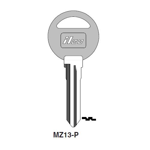 Ilco  MZ13-P Ford Plastic Head Key Blank; ( MZ13,  X131 )