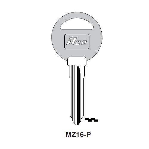 Ilco  MZ16-P Mazda Plastic Head Key Blank; ( MZ16,  X178 )