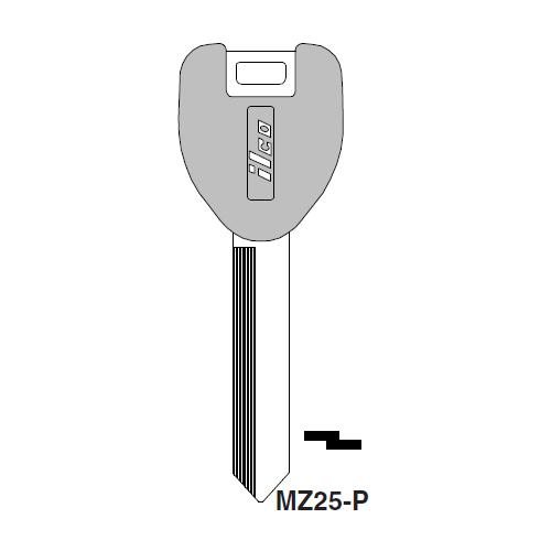 Ilco  MZ25-P Mazda Plastic Head Key Blank; ( MZ25,  X206 )