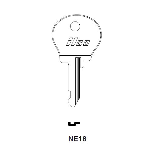 Ilco NE18 Key Blank : Chrysler, Peugeot, Renault, Simca, Talbot, Matra