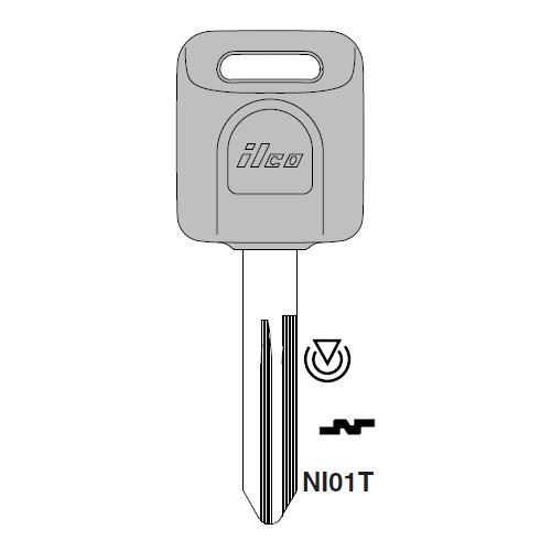 Ilco NI01T Transponder Key Blank; Nissan