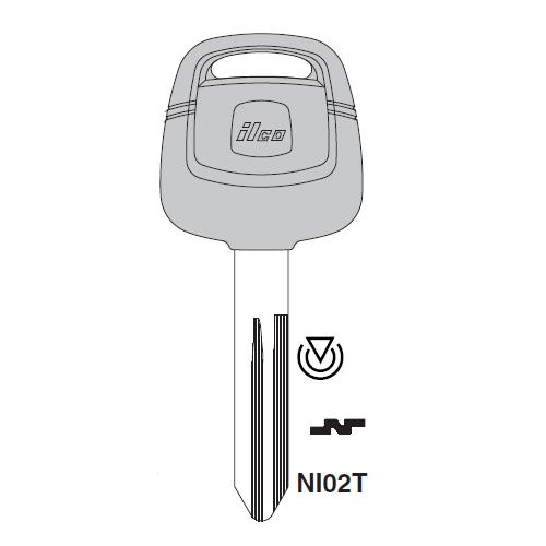 Ilco NI02T Transponder Key Blank; Nissan
