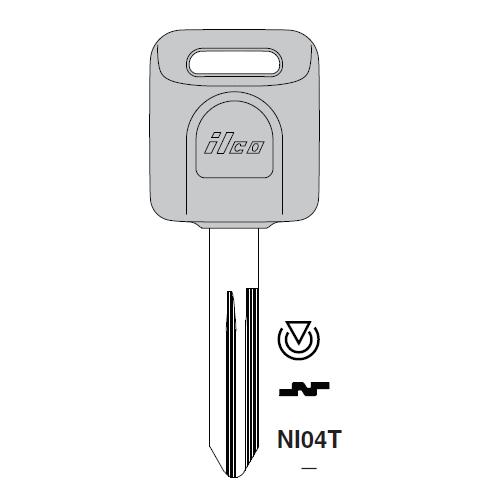 Ilco NI04T Transponder Key Blank; Infiniti, Nissan
