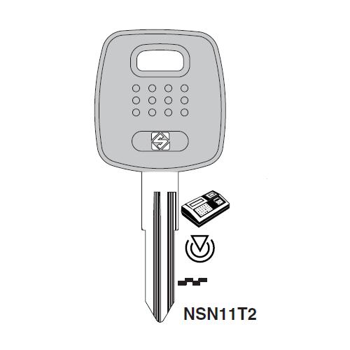 Ilco NSN11T2 Transponder Key Blank; Nissan