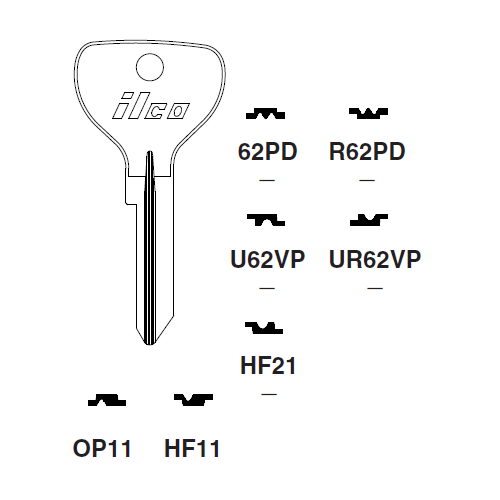 Ilco U62VP Key Blank : General Motors, Opel