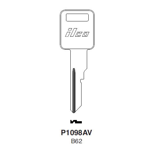 Ilco P1098AV (B62) Key Blank : General Motors