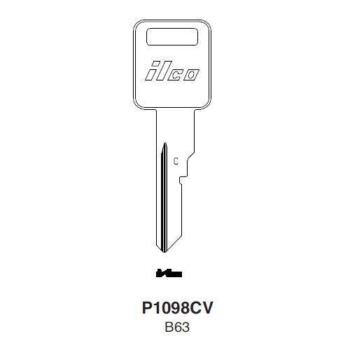 Ilco P1098CV, B63-P (B63) Key Blank : General Motors